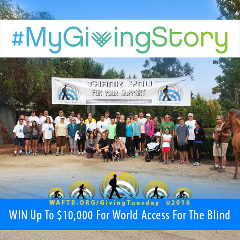 My Giving Story. Win up to 10 thousand dollars for World Access For The Blind. Image shows supporters of World Access For The Blind gathered before a walk, run, ride fundraising event.