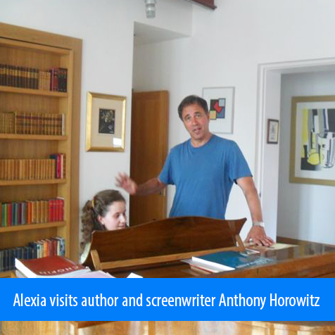 Alexia Sloane visits author and screenwriter Anthony Horowitz. Image. Photo Alexia play piano for Anthony Horowitz at his home.