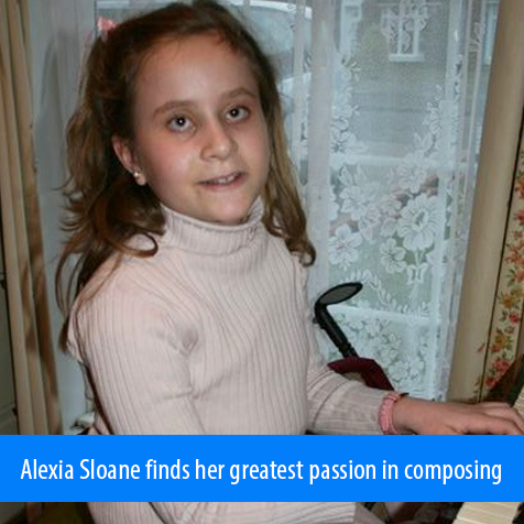 Alexia Sloane finds her greatest passion in composing. Image: Photo of 10 year old Alexia playing the piano.