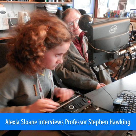 Alexia Sloane interviews Professor Stephen Hawking. Image: Alexia uses her braille computer during her interview in Professor Hawking's office.