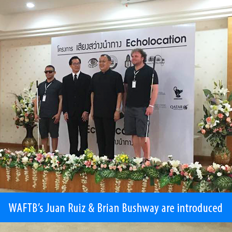 WAFTB's Juan Ruiz and Brian Bushway are introduced to members of the Foundation for the Blind in Thailand and the news media.