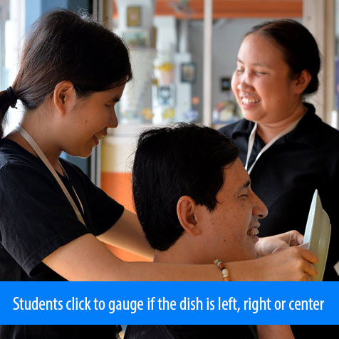 Students click to gauge is the dish is left, right or center. Image. Female student stands behind a seated male student and holds a dish in front of him. He feels the dish after clicking and correctly 'seeing' its location with sound.