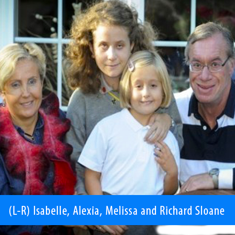 Image. Alexia Sloane pictured with her mother Isabelle, father Richard and younger sister Melissa.