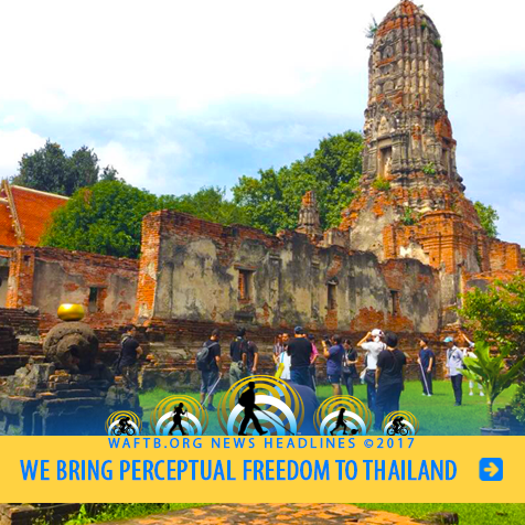 We Bring Perceptual Freedom to Thailand. Image: WAFTB Instructors work with Thai students near Temple ruins.