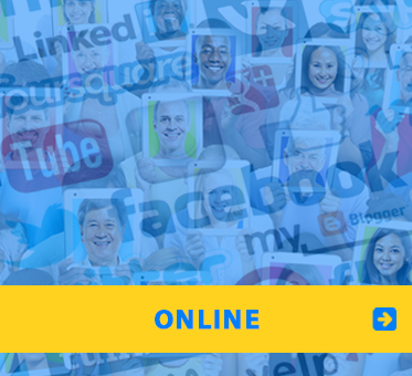 WAFTB Online. Image shows online media logos blended with 'selfies' of users.