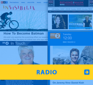 WAFTB Radio. Image of Radio logos from NPR, BBC and Behind The Mask and photos of Daniel Kish, Brian Bushway and some radio hosts.