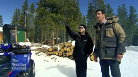 Video frame: J. Steele-Louchart points out the shape of a tree to documentary host.