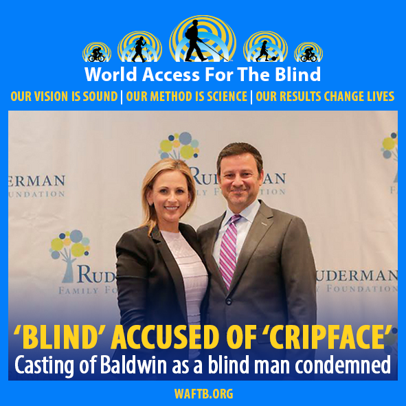 'Blind' Accused of 'Cripface'. Casting of Baldwin as a blind man condemned. Image: Photo of Jay Ruderman, President of the Ruderman Family Foundation stands next to Actress Marlee Matlin.