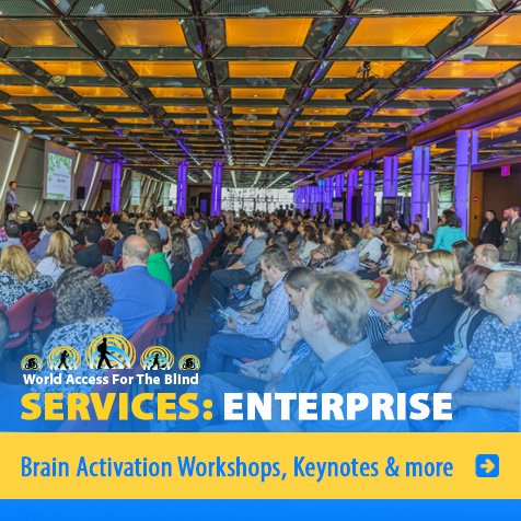 Services: Enterprise: Brain Activation Workshops, Keynotes and more. Image. Photo shows Daniel Kish delivering a keynote address at a large corporate gathering in New York City.