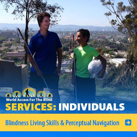 Services: Individuals: Blindness Living Skills & Perceptual Navigation. IMage: Photo of Daniel Kish and student Humoody SMith pictured against the Los Angeles skyline.