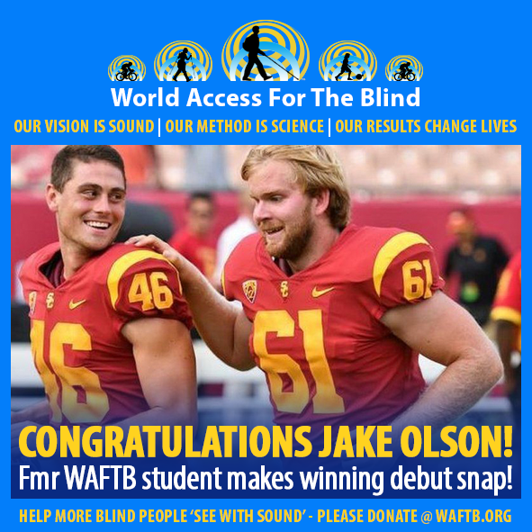 WAFTB Facebook module frames a photo of Jake Olson, Number 61 on the University of Southern California Trojans football team running off the field with a teammate. Caption: Congratulations Jake Olson! Former WAFTB student makes winning debut snap.