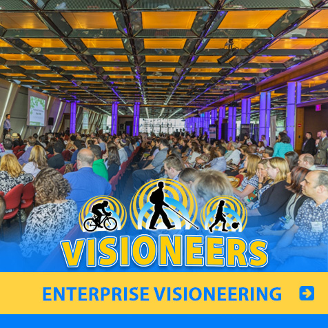 Category link: Enterprise Visioneering. Lead Visioneer Daniel Kish delivers a keynote speech at a Foothold Technologies Conference in New York City.