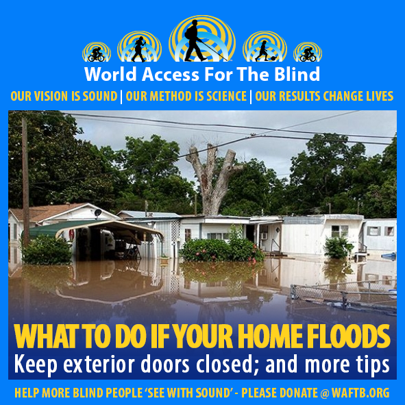 WAFTB Facebook Module frames a Photo of previous flooding in a trailer park on the Texas Gulf Coast. Caption: What to do if your home floods. Keep exterior doors closed; and more tips.