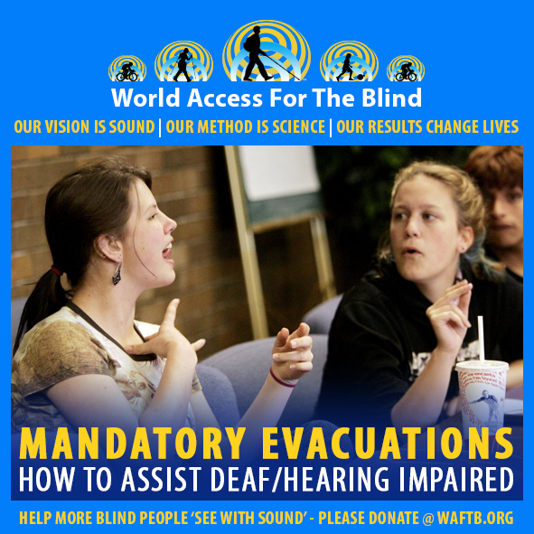 WAFTB Facebook Module frames two women using ASL (American Sign Language) to communicate in a public setting. Caption: Mandatory Evacuations. How to assist deaf/hearing impaired.