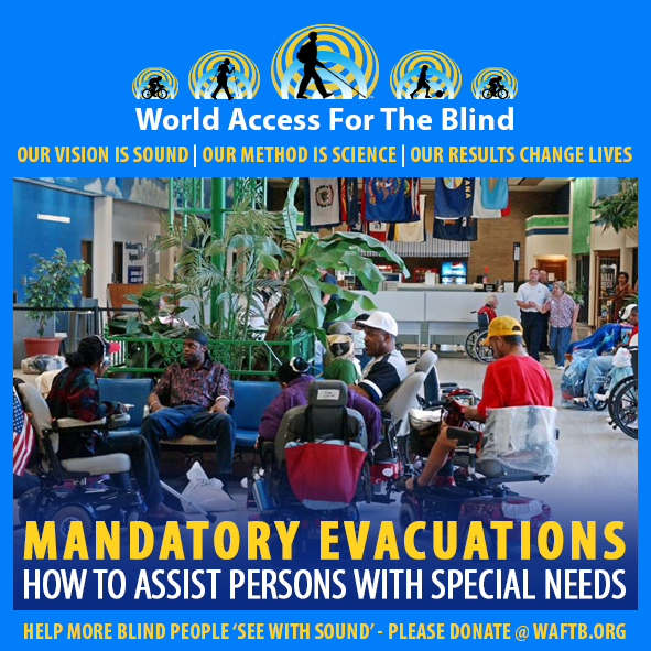 WAFTB Facebook Module frames a group of special needs patients in motorized wheelchairs or walking with an escort as they wait to be evacuated from an airport in Port Arthur, Texas during Hurricane Rita. Caption: Mandatory Evacuations. How to assist persons with special needs.