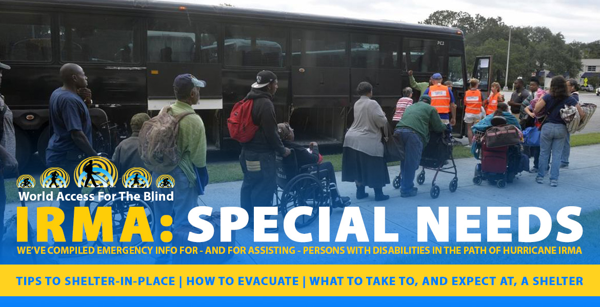 Image: Persons with special needs line-up to board evacuation buses in Georgia.