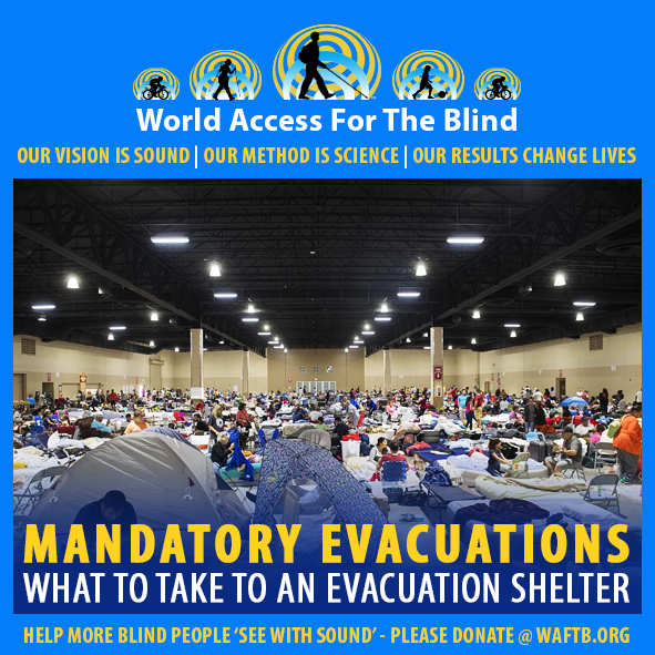 WAFTB Facebook Module frames a photo of people at an Evacuation Shelter at the Miami-Dade County Fair Expo Center in Miami. Some people have set up small tents while others are using airbeds or foldout cots. Caption: Mandatory Evacuations. What to take to an evacuation shelter.