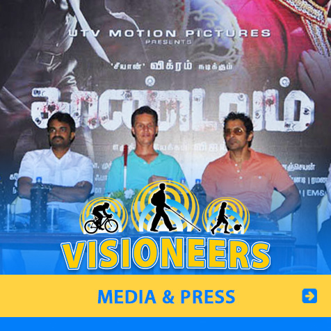 Media and Press. Photo of Lead Visioneer Daniel Kish participating at the Press Conference for a motion picture in India for which he consulted and appeared in.