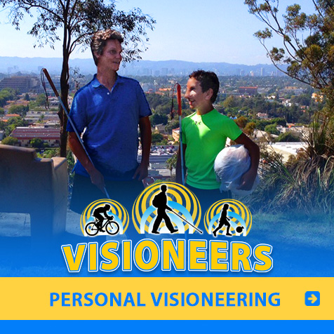Category link: Personal Visioneering. Image shows Lead Visioneer Daniel Kish structing blind student Humoody on how to make a soccer ball for audible by placing it in a plastic bag.