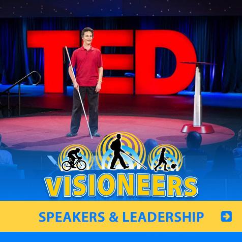 Speakers and Leadership. Image: Lead Visioneer Daniel Kish speaks onstage at TED.