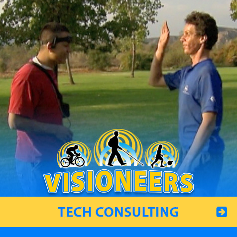 Tech Consulting. Photo: Lead Visioneer Daniel Kish tests the detection range of a a headband sonar detector he co-designed with blind student Hector who is wearing it.