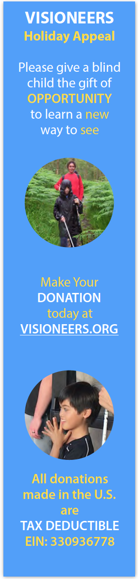 Visioneers Holiday Appeal. Please give a blind child the gift of opportunity to learn a new way to see. Image: Junior Visioneer Ethan in a hooded raincoat uses FlashSonar and a perception cane to lead Daniel Kish along a fern-lined forest train in the rain. Make your donation today at Visioneers.org. Image: Junior Visioneer Nathan claps his hands together to initiate a louder echo from a distant wall. All donations made in the U.S. are Tax Deductible EIN: 3 3 0 9 3 6 7 7 8. Click here to make a secure donation on our Holiday Appeal page.