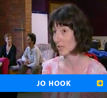Jo Hook. Image: Video still of Jo Hook from a BBC Program with Daniel Kish in the background. Link to article on her work with Daniel Kish at Birmingham City University.