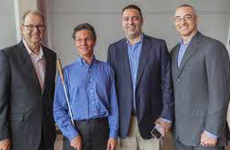 Lead Visioneer Daniel Kish stands for a photo with the executives of Foothold Technology following his Keynote address at their 2016 Cultivating Growth Expo.