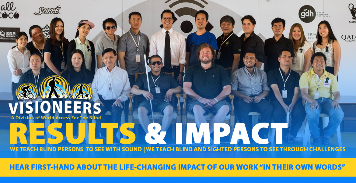 "Visioneers Results And Impact. Hear first-hand about the life-changing impact of oour work ""in their own words"". Image: Group photo including Senior Visioneers Juan Ruiz and Brian Bushway along with Dr. Taya Kitiyakara and staff and students of the Foundation for the Blind in Thailand under the Patronage of Her Majesty the Queen."